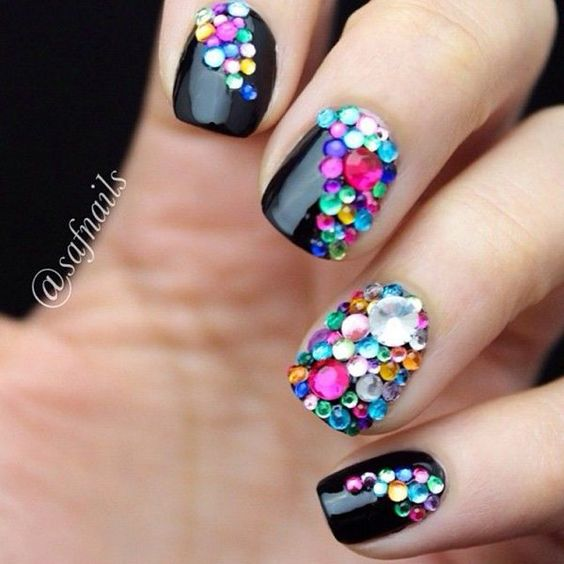 Cool Nail Designs With Gems : Cool nail designs rhinestones and art