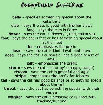 Warrior Cat Prefixes And Suffixes List