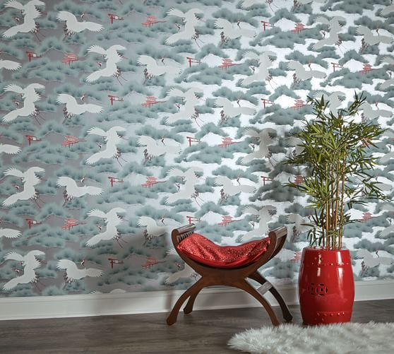 Asian Toile Sterling Cherry Red Removable Wallpaper Removable Wallpaper Red Wallpaper Metallic Wallpaper