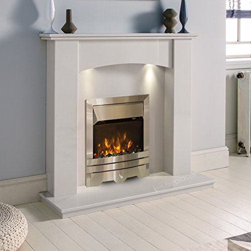 White Marble Stone Curved Surround Electric Fireplace Suite Silver