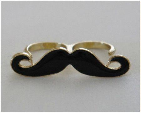 Anel Duplo de Mustache Preto