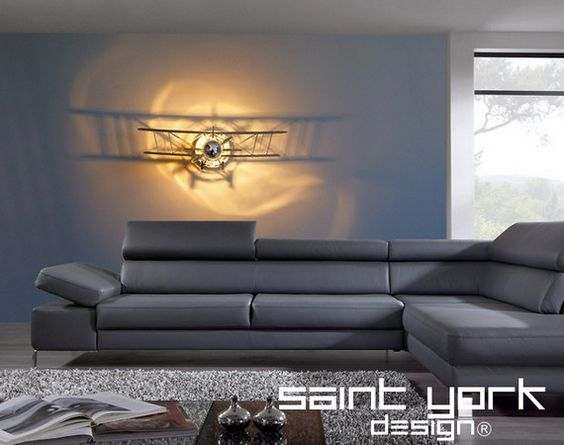 "Luminaire applique "" BIPLAN - AVION  "" 70x21 cm plexiglas miroir 5D AVIATION STAMPE"