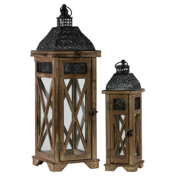 Urban Trends 2 Piece Wood Lantern Set | Wayfair $123