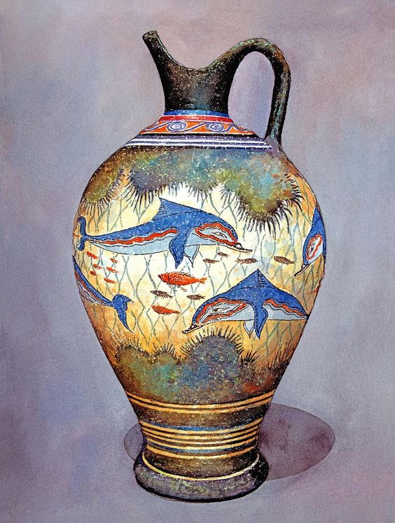 Minoan Urn 2: Colourful dolphins, coral and fish decorate this urn. It is a modern-day replica of a style that was produced in Minoan times. The original vases produced around the area of Santorini were used for storage of staples like olive oil, wine and almonds | Zografos Gallery: