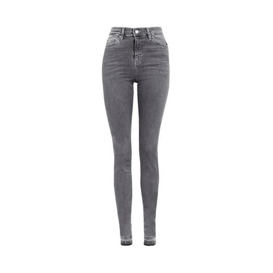 TopShop Tall Let Hem Jamie Jeans ($80) ❤ liked on Polyvore featuring jeans, grey, skinny fit jeans, high-waisted jeans, high waisted jeans, grey jeans and high rise skinny jeans