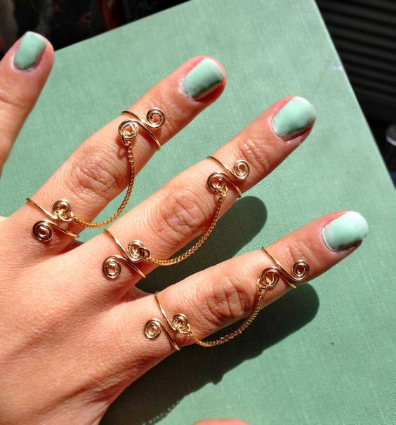Adjustable Chained Knuckle and Finger Ring by GiacomelliStudio, $10.00