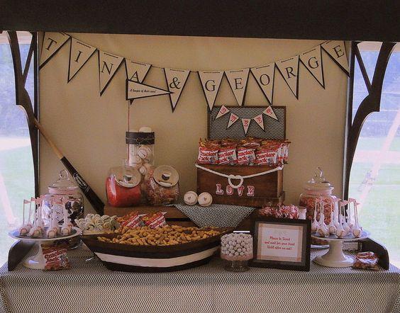 www.theperfecttablecapecod.com Baseball Themed Wedding Treat Table