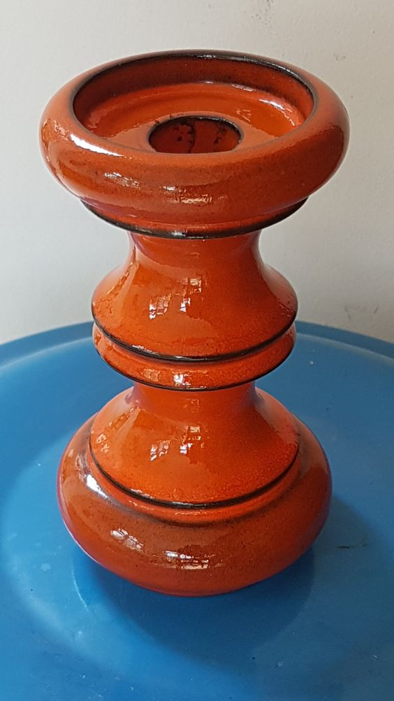 Fat lava Steuler candleholder, by Cari Zalloni;  a fabulous glossy orange…