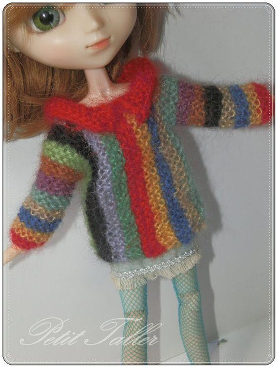 Jersey Multicolor para Pullip / Blythe por PetitTaller en Etsy, €15.00