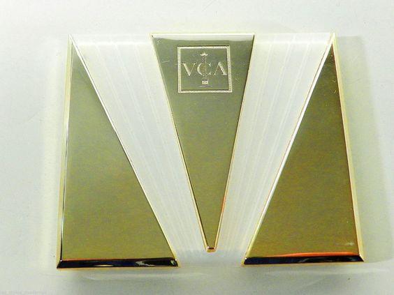 Van CLEEF & ARPELS Paris Art Deco Stil Metall Glas Luxus Taschenspiegel