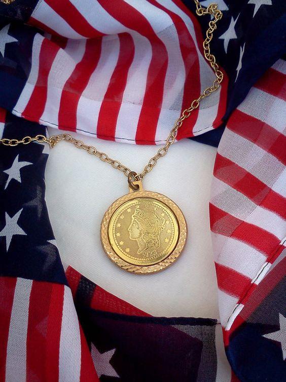 Vintage 1776 Twenty Dollar Gold Piece Necklace by WeeLambieVintage, $7.76: Jenny Lk, Twenty Dollar, Lk Doughty, Etsy Treasuries, Red White, Gold Piece, 1776 Twenty, Dollar Gold
