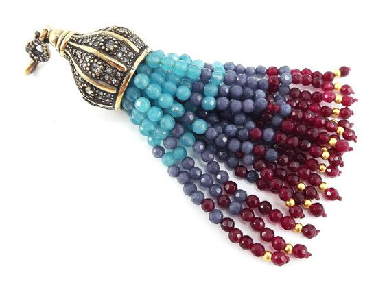 Große lange Aqua blau, Rauchiges Blau, Granat Rot Facette schneiden Jade Stein Perlen Quaste mit Crystal Akzenten - antike Bronze - 1PC