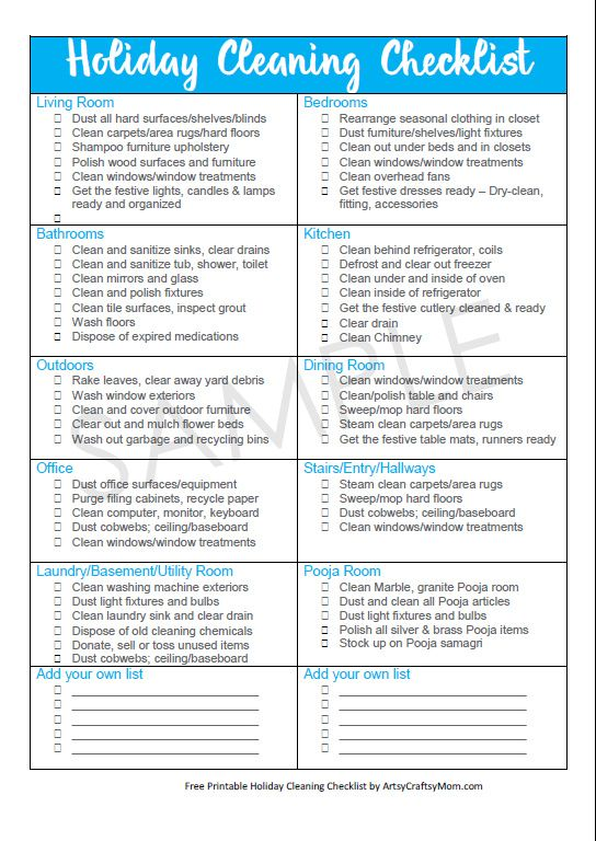 Holiday Cleaning: Free checklist for a Guest-Ready Home | Seasons ...