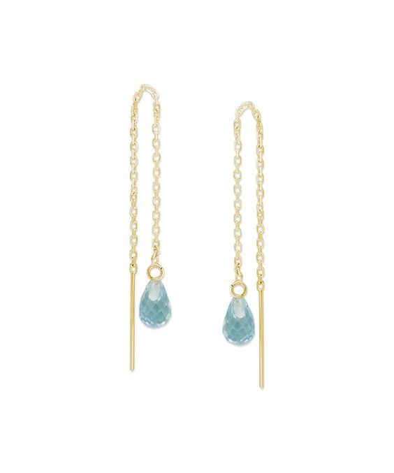 This Blue Topaz & 14k Yellow Gold Briolette Threader Earrings by Orogem is perfect! #zulilyfinds