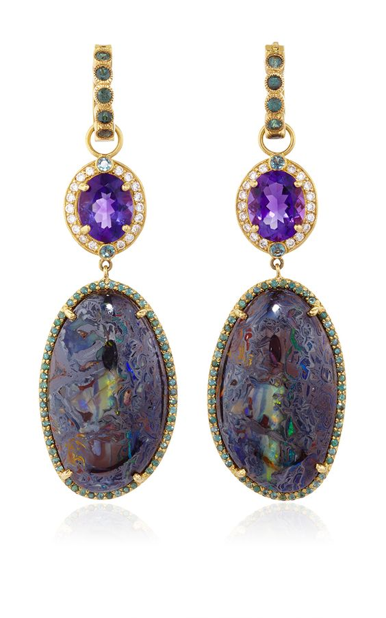 One of a Kind Amethyst and Opal Drop Earrings and Color Change Garnet Huggies  by Erica Courtney for Preorder on Moda Operandi