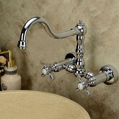 Chrome Polish Bathroom Sink Faucet Swivel Spout Dual Handle Mixer