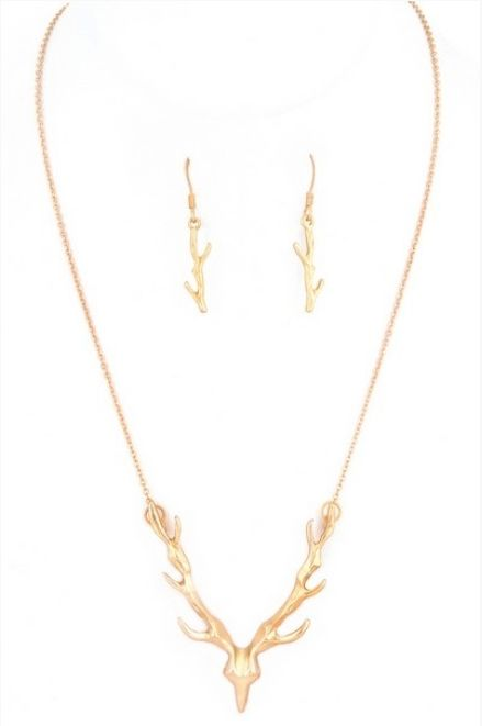 Clarice Deer Pendant Gold Necklace Set