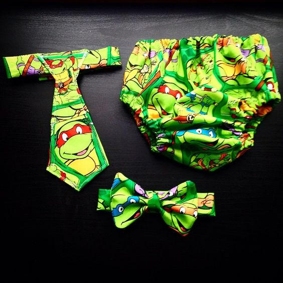 Ninja Turtle Tie, Bow Tie, and Diaper Cover <3