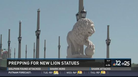 lJuly 2015 - St Augustine gets two new lions on bridge they now have 4 - 2 at each end of bridge.Prepping for new lion statues [ID=29503391]