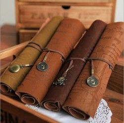 Free-shipping-Fashion-Delicate-Vintage-Pirate-Treasure-Map-Compass-Skull-Star-Pendant-Leather-Roll-Pencil-Case