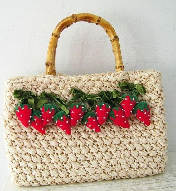 Vintage Ritter Raffia Purse with Strawberry Motif