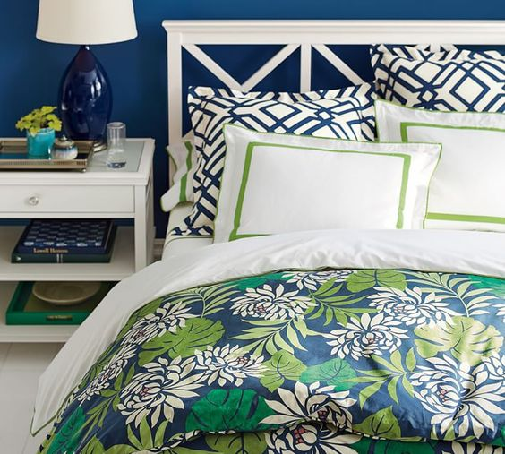 Clara Bed & Dresser Set from Pottery Barn. The duvet isn't usually my style but I like the color combination with the pillows.