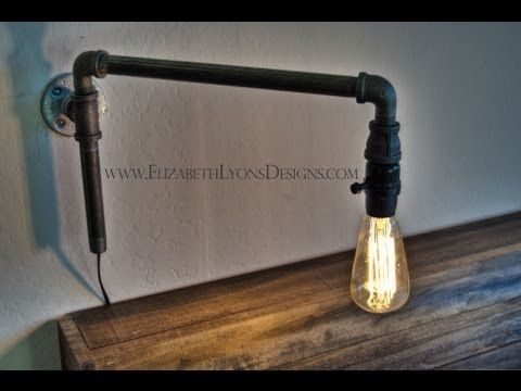 DIY - How to make a modern wall light fixture using pipe fittings - YouTube