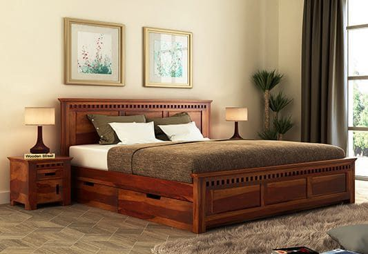 Adolp Queen Size Bed Is A Perfect Example Of Ravishing Bedstead Due To The Intricate Design Wooden King Size Bed Bed Furniture Design Bed Designs With Storage