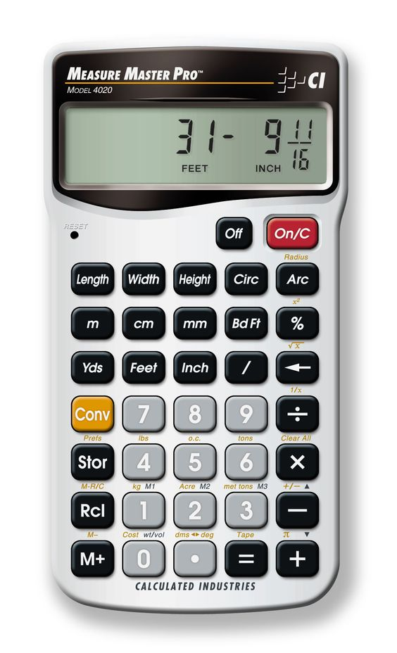 Measure Master Pro Do-It-Yourselfers Our standard feet-inch - financial calculator