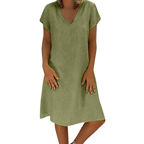 Aini Mujer Verano De Playa Vestido De Lino De Verano Vestido Mujer Mujer Camiseta Algodón Casual Talla Vestidos De Mujer Vestidos Para Señoras Vestidos De Lino