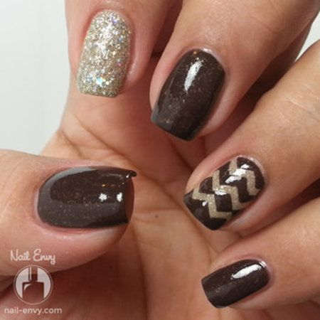 Glittered Chocolate Brown Chevron Nail #nailenvy #glitterpolish #bellashoot
