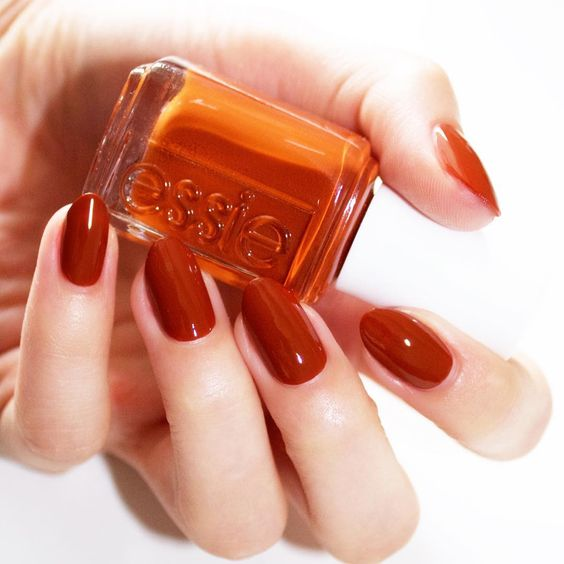 'playing koi' is one of the daring new shades from the essie fall 2016 collection - go bold with this flirty orange rust nail polish color and you'll never fish for compliments again.