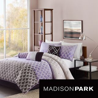 @Overstock.com - Madison Park Sidney 7-piece Comforter Set - Update your space to a contemporary look with the Madison Park Sidney Comforter Set. This beautiful set is made from polyester jacquard and features an ombre effect with the silvery purple fading into a lavendar and then into a deep plum.  http://www.overstock.com/Bedding-Bath/Madison-Park-Sidney-7-piece-Comforter-Set/8431661/product.html?CID=214117 $119.99