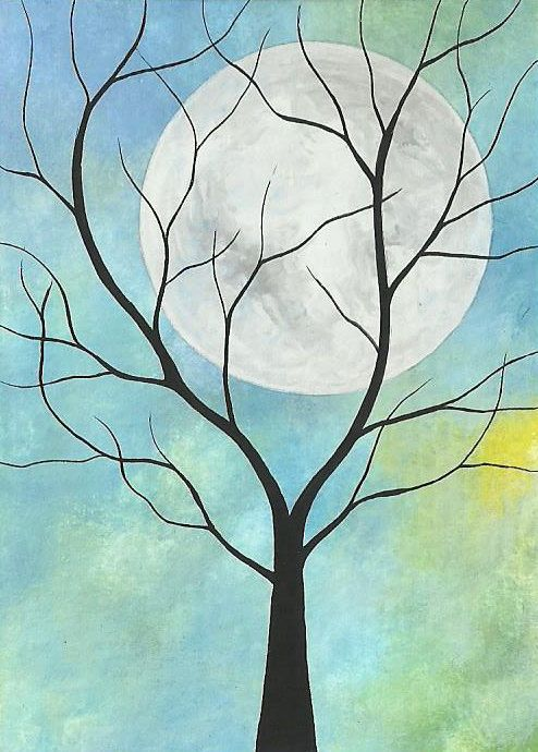 ACEO Original Acrylic Painting - Tree & Moon in Colorful Sky, Michael Francis Brown. ATC, artist trading card
