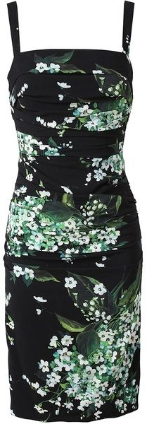 Dolce & Gabbana Floral Printed Crepe Dress: