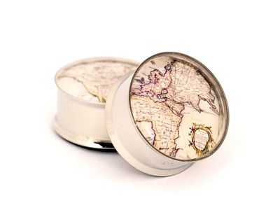 Antique Map Picture Plugs gauges - 2g, 0g, 00g, 7/16, 1/2, 9/16, 5/8, 3/4, 7/8, 1 inch STYLE 2. $19.99, via Etsy.