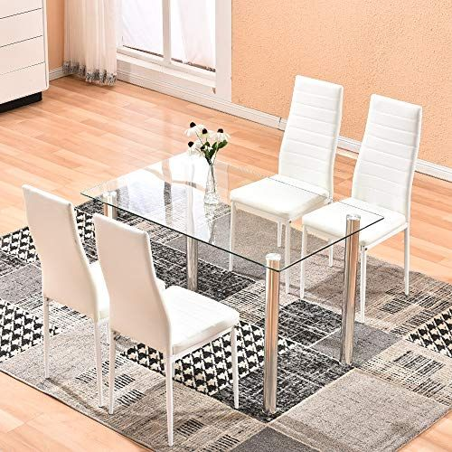 Dining Table With Chairs 4homart 5 Pcs Glass Dining Kitchen Table