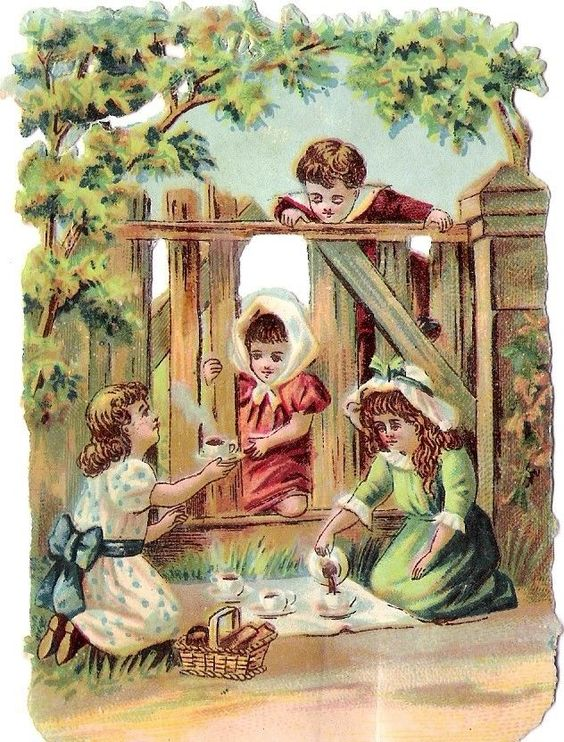Oblaten Glanzbild scrap die cut chromo Kind child girl Picknick picnic garden: