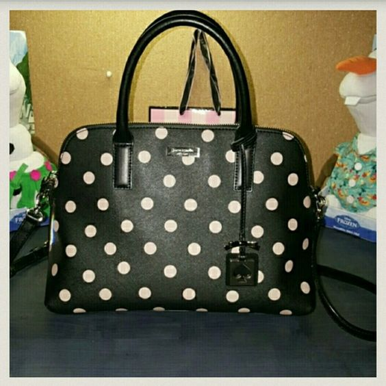 ♠Kate Spade Polka Dot Crossbody♠ Gorgeous bag with gold hardware has a cute gold spade & bow accessorie charm. This bag is in flawless condition! ?Free free to make a offer.? kate spade Bags Crossbody Bags