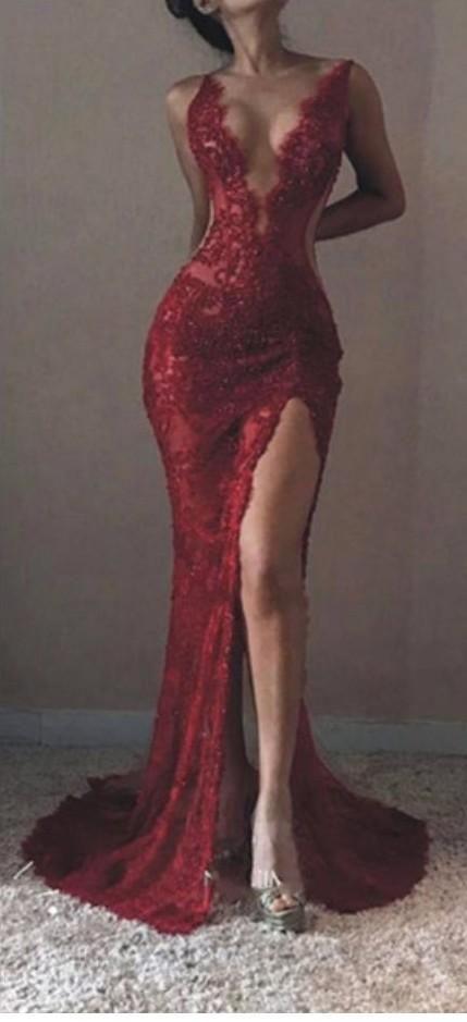Robe de bal sexy sirène col en V sans manches en dentelle avec fente devant, HS251 # fashion # promdress # robe de soirée # promgowns # cocktaildress