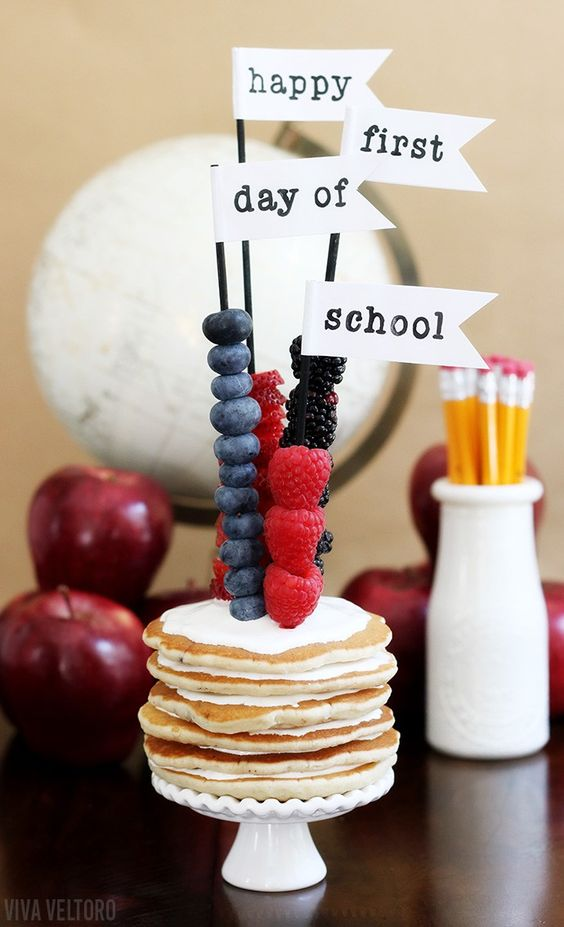Send them back to school with this cute pancake stack. There's also a HUGE lists of breakfast ideas! #HeresToFirsts AD: