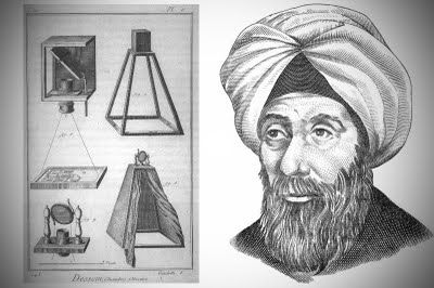 """Alhazen a great authority on optics in the Middle Ages who lived around 1000AD, invented the first pinhole camera, (also called the Camera Obscura}. He was known as """"The Father of Optics"""""""