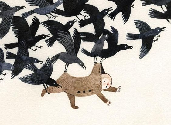 "Kidnapped by Crows by Carson Ellis, in ""Wildwood"" by Meloy and Ellis"
