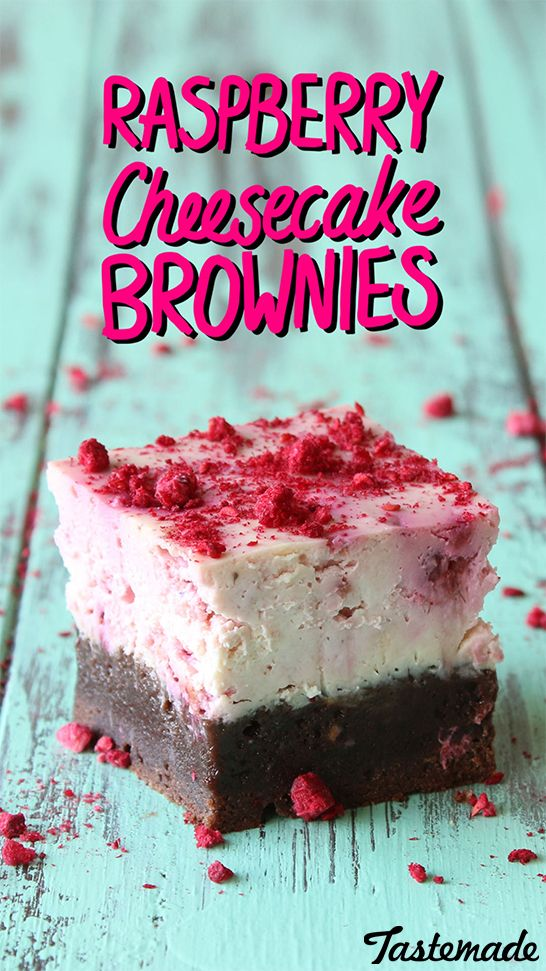 Rich fudge brownies base with a raspberry cheesecake top.