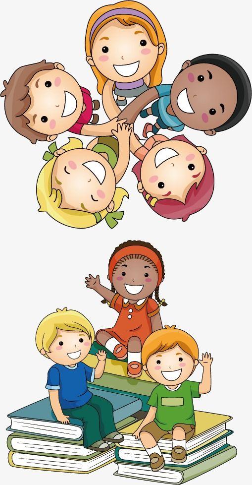 أطفال الكرتون الإبداعية قصاصات فنية من الأطفال ناقلات الكرتون مقبض Png وملف Psd للتحميل مجانا Kids Clipart School Murals Cartoon Kids