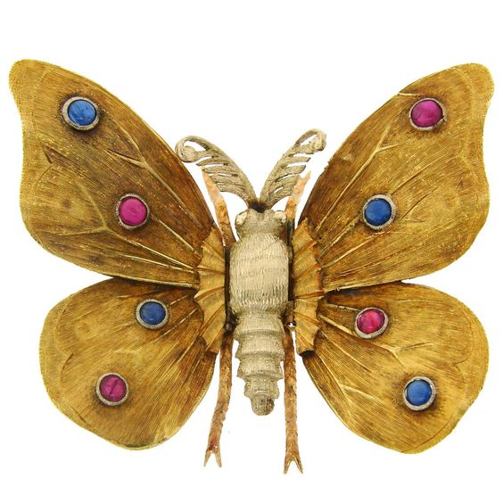 1950s MARIO BUCCELLATI Ruby Sapphire Yellow Gold Butterfly Pin Brooch | From a unique collection of vintage brooches at https://www.1stdibs.com/jewelry/brooches/brooches/