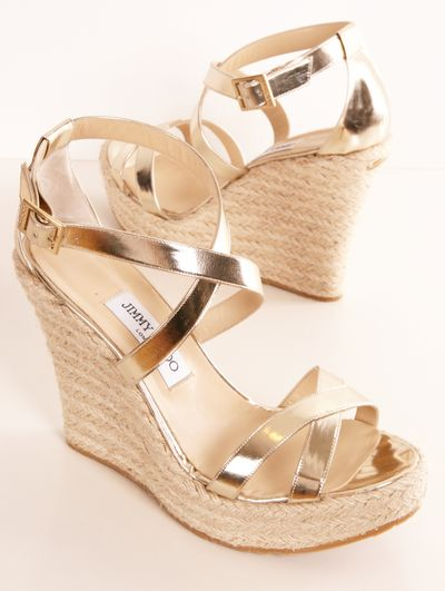 """Jimmy Choo gold patent leather """"Porto"""" espadrille wedges- these are simple and cute definitely wouldn't pay designer prices though"""