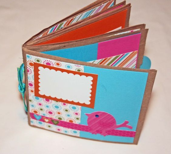 Another look at @LanaMcCarney's paperbag scrapbook - so cheery bright, and great way to upcycle those paper bags! #scrapbooking #miniscrapbook #upcycle #stampinup
