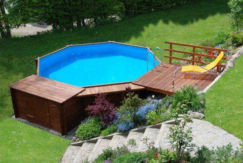 Holzpool Mit Liegeflache Holzpool Pool Holz