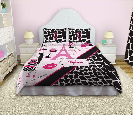 paris themed bedding duvet covers and duvet on pinterest. Black Bedroom Furniture Sets. Home Design Ideas